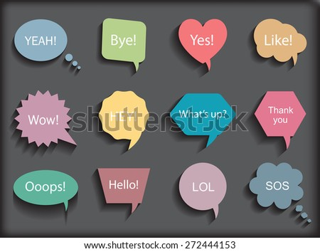 Colorful speech bubbles.Speech bubbles with messages.Abstract vector illustration. - stock vector