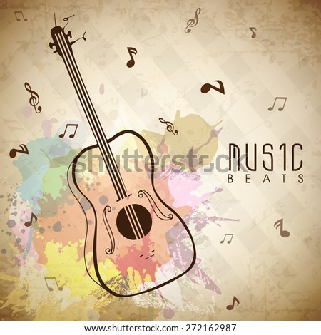 Colorful splash grungy background with musical notes and guitar. - stock vector