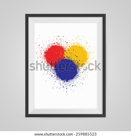Colorful Splash Poster in a Frame on Wall. Vector illustration. - stock vector