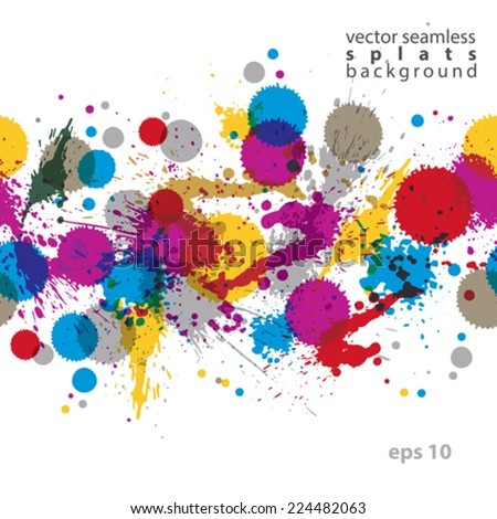 Colorful splattered web design repeat pattern, art ink blob, multilayered paintbrush drawing. Bright graffiti transparent seamless background, eps10. - stock vector