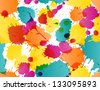 Colorful splatters template - stock vector