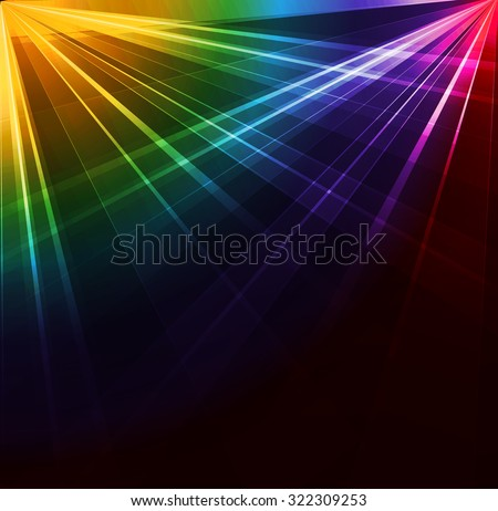 Colorful Spotlight background. Vector illustration. Neon or laser light - stock vector