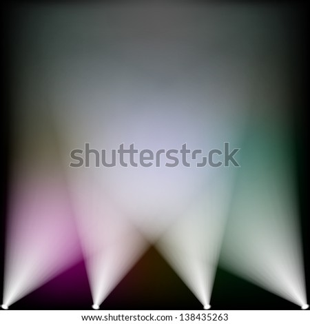 Colorful spotlights lighting up - stock vector