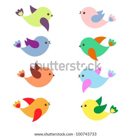 Colorful Spring birds .Vector set - stock vector