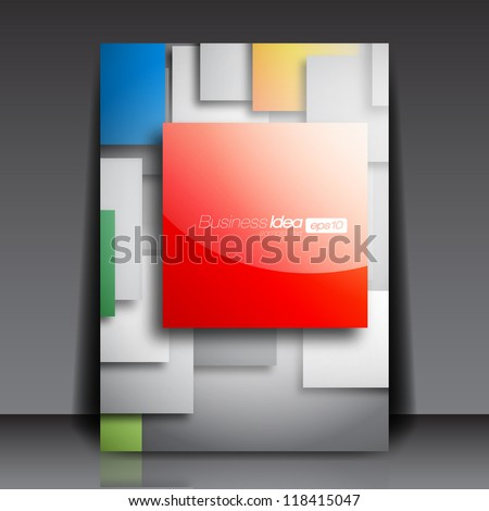 Colorful Square Blank Flyer Template - Vector Design Concept - stock vector