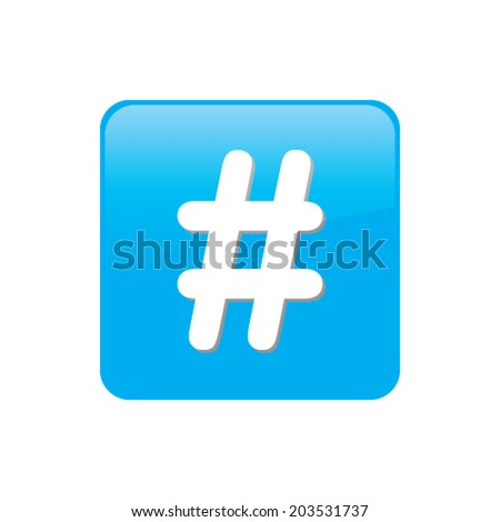 Colorful square buttons for website or app - Hashtag - stock vector