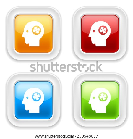 Colorful square buttons with head-luck icon on white background - stock vector
