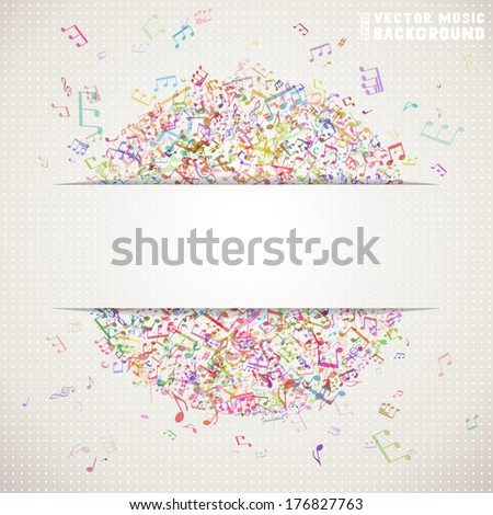 Colorful square music background with white stripe for your text. Set of music elements on light background. Music abstract circle of notes and treble clefs. There is place for your text. - stock vector