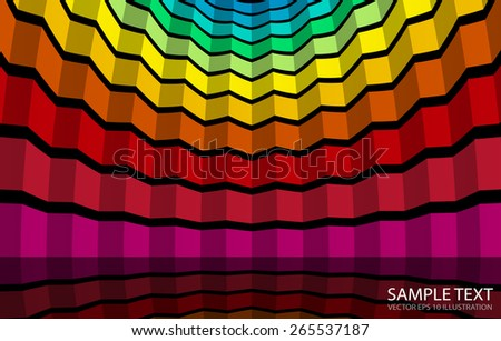 Colorful squared background vector illustration reflected  - Vector colorful striped abstract background template - stock vector
