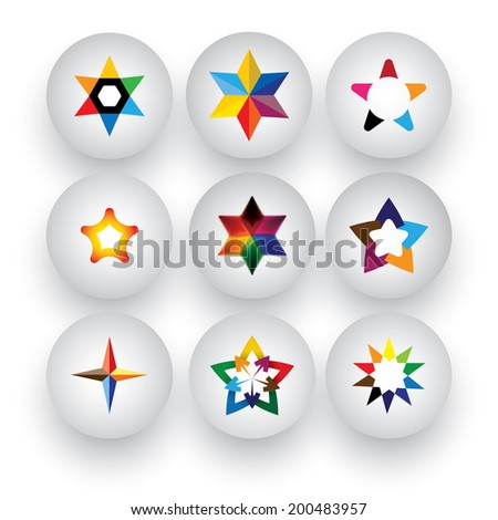 colorful star, christmas & navidad, rating, 3d badge vector icons. This graphic also represents buttons with different types of stars, flowers, geometric patterns & shapes - stock vector