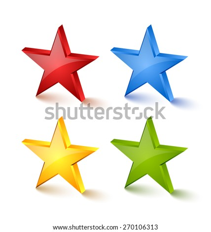 Colorful star icons placed on white background - stock vector