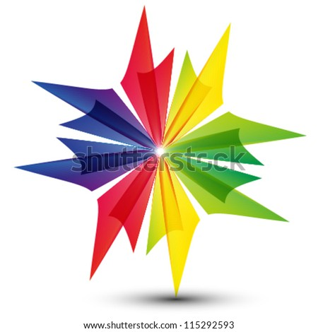 colorful star shape, logo (also you can use as business icon) - stock vector