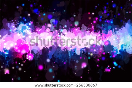 Colorful stars brush strokes background. Vector version - stock vector