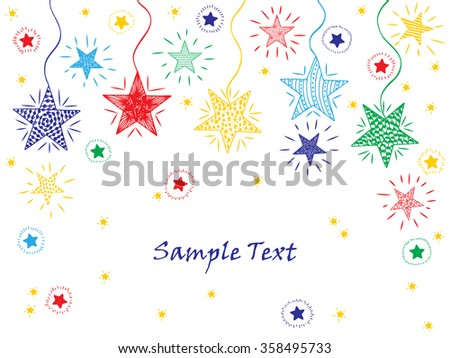 Colorful stars. Hand drawn doodle stars. Holiday card template with shiny stars - vector illustration - stock vector