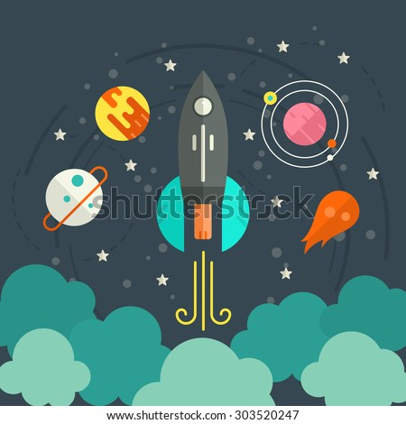 Colorful start up concept with space, planets, rocket and stars. Space illustration made in modern vector. Successful launch design.  - stock vector
