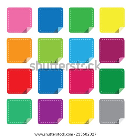 Colorful stick note isolated on white background, vector illustration eps10. - stock vector