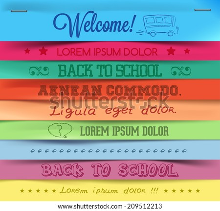 Colorful sticky note. Background, vector illustration. Back to school - stock vector