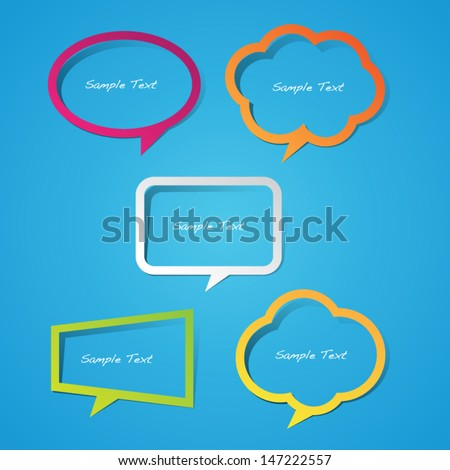 Colorful Sticky Paper Speech Bubbles - stock vector
