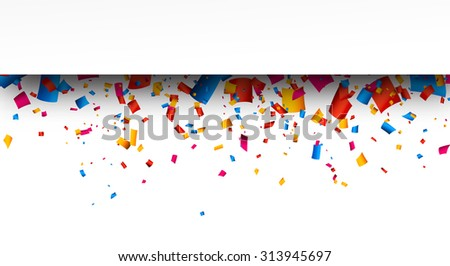 Colorful strip celebration background with confetti. Vector Illustration. - stock vector