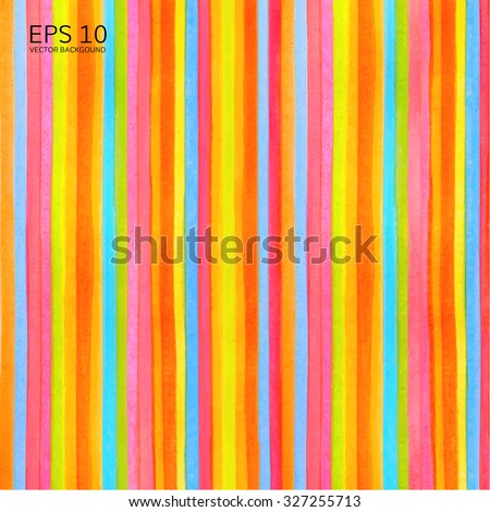 Colorful striped (stripes pattern) background. Vector watercolor backdrop with rainbow texture for any modern graphic design illustration. Red. green, yellow, orange, blue colors lines - stock vector