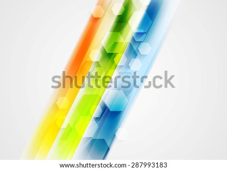 Colorful stripes and hexagons abstract design. Vector background - stock vector