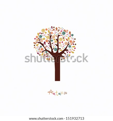 Colorful stylized autumn tree - stock vector