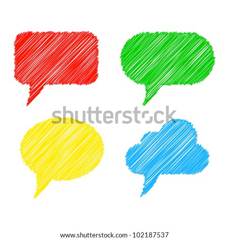 Colorful stylized speech bubbles. Vector illustration - stock vector