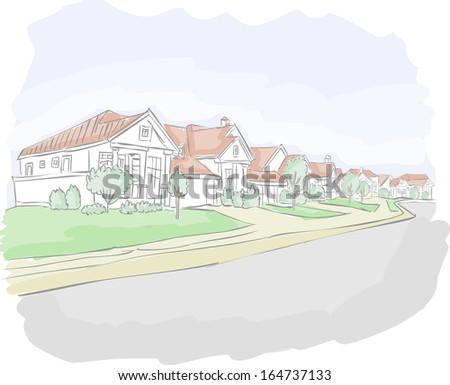 Colorful suburb neighborhood. Cartoon city.  - stock vector
