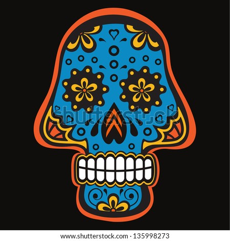 Colorful sugar skull for mexican day of the dead - stock vector