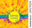 Colorful summer background with rainbow - stock vector