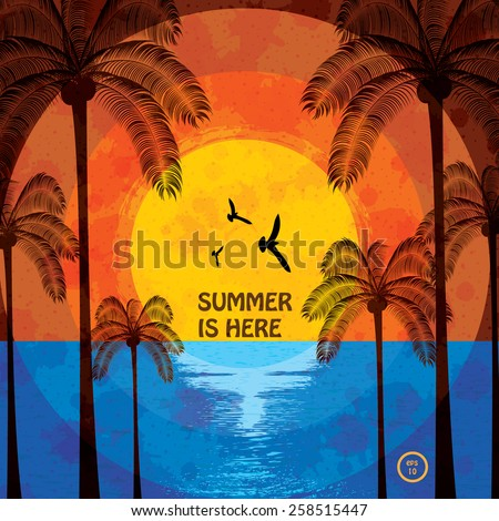 Colorful summer beach template bright color - stock vector