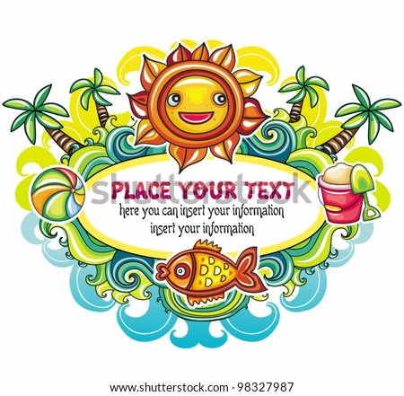 Colorful Summer frame series - stock vector