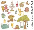 Colorful Summer Garden Doodles - for scrapbook, design in vector - stock vector