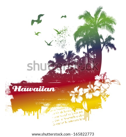colorful summer scene - stock vector