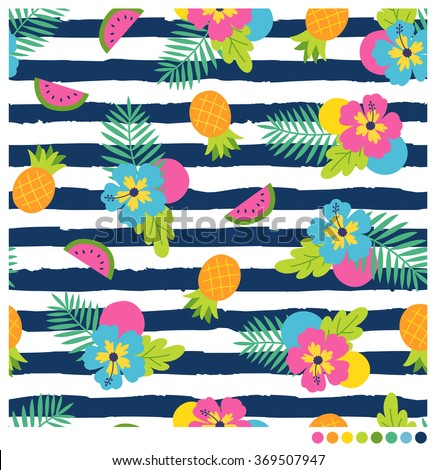 Colorful  Summer seamless vector pattern with hibiscus and fruits on navy blue and white stripes background. - stock vector
