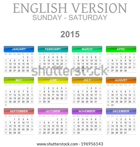 Colorful Sunday to Saturday 2015 Calendar English Language Version Illustration - stock vector