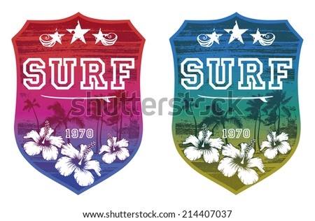 colorful surf shields - stock vector