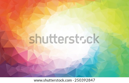 Colorful swirl rainbow polygon background or vector frame - stock vector