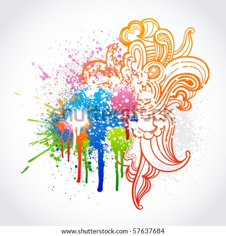 Colorful swirl sketch with grunge paint splatter - stock vector