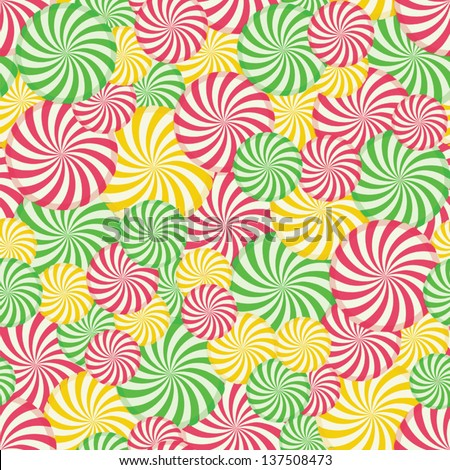 Colorful Swirl Sweets Seamless Pattern Repeat - stock vector