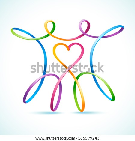 Colorful swirly figure couple with heart - stock vector