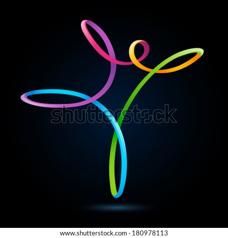 Colorful swirly figure on black background - stock vector