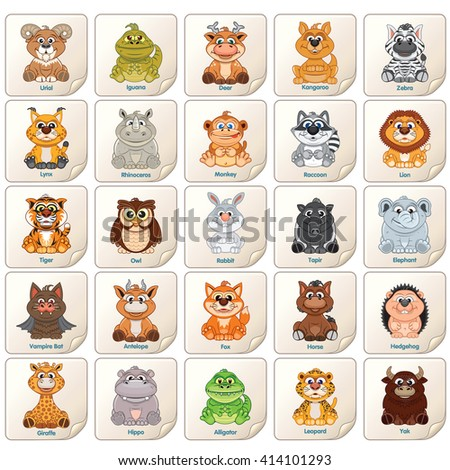 Colorful Tags, Labels or Stickers with Cute Zoo Animals, Birds and Reptiles. Vector Clip Art Lion, Monkey, Deer, Owl, yak, Raccoon, Rabbit, Deer etc - stock vector