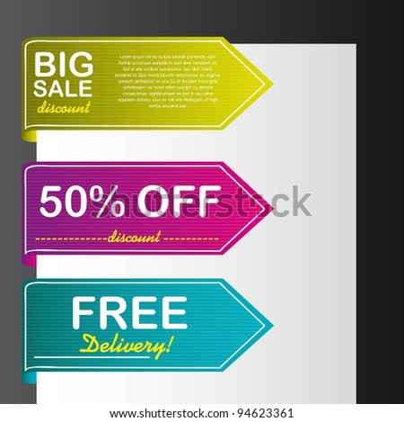 colorful tags vector over paper over black background. vector - stock vector