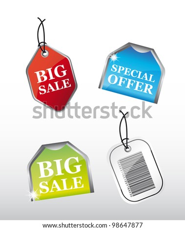 colorful tags  with special offer sale over gray background. vector - stock vector