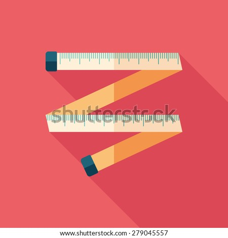Colorful tape measure flat square icon with long shadows. - stock vector