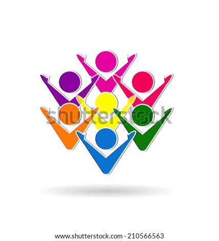 Colorful teamwork business, meeting,happiness people or unity children concept symbols vector icons - stock vector