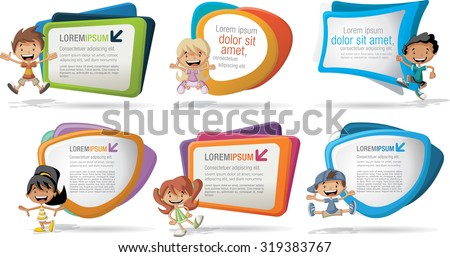Colorful template for advertising brochure with a group of six cartoon children - stock vector