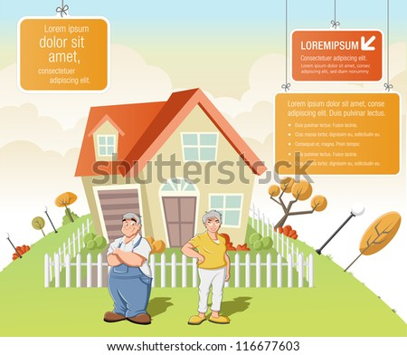 Colorful template for advertising brochure with cartoon old people in front of a house in green park. - stock vector