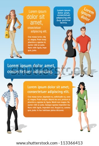 Colorful template for advertising brochure with cool fashion young people and speech balloons. Teenagers. - stock vector